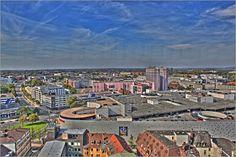 Blick über die Stadt Essen im Ruhrgebiet. Aufgenommen und bearbeitet als HDR Bild