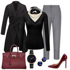 52d0156eac Winter work capsule wardrobe 37 pieces 100 outfits. Stylish Winter  OutfitsWinter Outfits For WorkChic OutfitsBurgundy BagBurgundy PumpsGrey ...