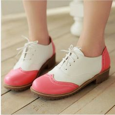 6a0a5e4d6455f Details about Womens Flat Heel Oxfords Casual Shoes Lace Up Stitching Colors  Wing Tip Plus Sz