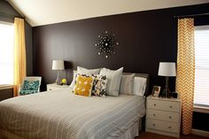 Casa Greer: Our Home - Bedroom Reveal (with full source list) wall color - Behr's Anonymous  back wall - Benjamin Moore Almost Black