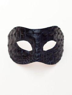 Designer Crocodile Alligator Leather Masquerade Mask