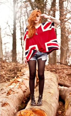 Discover this look wearing Union Jack Sheinside Sweaters, Dr Martens Shoes, Vintage Shorts - Born to Die by Coconut styled for Casual, Everyday in the Spring Loose Sweater, Ugly Sweater, Long Sleeve Sweater, Hipster Outfits, Grunge Outfits, Cool Outfits, Dr. Martens, Vintage Shorts, Union Jack