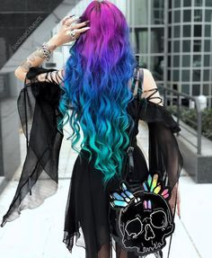 Women's Goth Off Shoulder Chiffon Party Dress With Sleeves - Punk Design Cute Hair Colors, Pretty Hair Color, Beautiful Hair Color, Hair Dye Colors, Dress Hairstyles, Cool Hairstyles, Party Dresses With Sleeves, Color Del Pelo, Aesthetic Hair