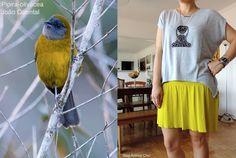 Look inspirado na Pipira-olivácea. Veja mais fotos acessando http://bloganimalchic.com/2014/11/19/bichododia-mistura-inusitada-de-cores/ #pipiraolivacea