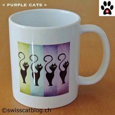 mug artinco purple cats