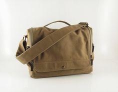 Messenger bag / laptop / men / light brown/ canvas messenger bag / shoulder bag / handbag / Wich. $57.00, via Etsy.