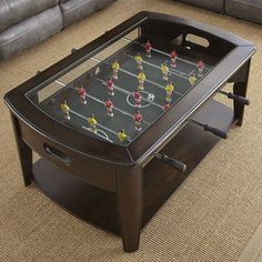 Shop Greyson Living Darlington Dark Walnut Wood/Glass Foosball Coffee Table - On Sale - Overstock - 17116003 Silver Coffee Table, Cool Coffee Tables, Coffee Table With Casters, Game Room Furniture, Furniture Websites, Furniture Sale, Unique Furniture, Pallet Furniture, Furniture Makeover