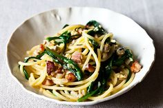 Ramp Carbonara (Ramps are a wild onion that has a garlic taste also.  They don't grow in my area but we have a wild onion with the same combination of tastes that I want to try.)