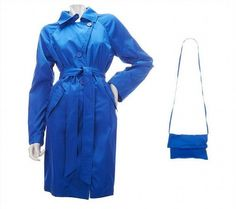 34.62$  Buy here - http://vibtr.justgood.pw/vig/item.php?t=o87zm6u26866 - Dennis Basso Packable Taffeta Trench Coat BeltBag Light Blue XXS NEW A223476 34.62$