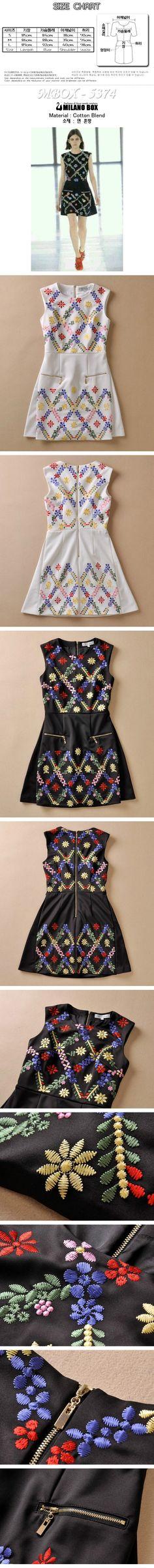 KENZ** STYLE FLOWER EMBROIDERY DRESS MBOX - 5374 - §~MILANO BOX~§ 당신의 패션을 완성 해드립니다. ☆★밀라노박스★☆