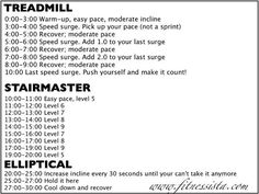 Triple Threat Cardio- treadmill, elliptical, stairmaster