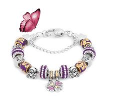 Sweet purple crystal Mom&Daughter dangle charm bracelet. http://www.pugster.com/Purple-Crystal-Dangle-Friendship-Love-Link-Chain-Beads-Charms-Bracelets-Fit-All-Brands/p_BRX_FA2851 #pugsterjewelry #familycharm #charmbracelelt #beadcharm #necklace #pendant