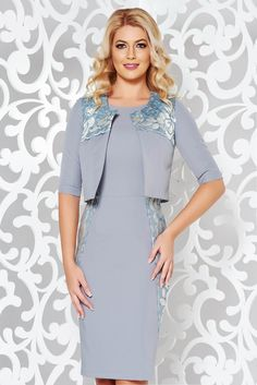 StarShinerS grey tented sleeve jacket flexible thin fabric/cloth with lace details, lace details, sleeves, flexible thin fabric/cloth Product Label, Lace Detail, Flexibility, October, Cold Shoulder Dress, Glamour, Blazer