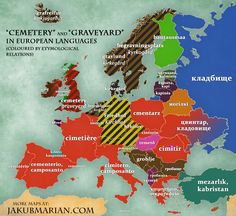 """""""Cemetery"""" and """"Graveyard"""" in European languages."""