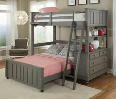 Shop bunk beds & other kid's bedroom furniture at My Home Furniture Co. Find modern bunk beds with many options that are durable, easy-to-clean and as functional as they are stylish. Bunk Beds With Stairs, Cool Bunk Beds, Kids Bunk Beds, Loft Beds, Bunk Beds For Girls Room, Bunk Bed Decor, Bunk Rooms, Twin Bunk Beds, Girl Room
