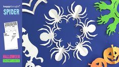 Snowflake Cutouts, Snowflake Template, Snowflakes, Halloween Spider, Halloween Diy, Diy Paper, Paper Crafts, Cool Art Projects, Printable Paper