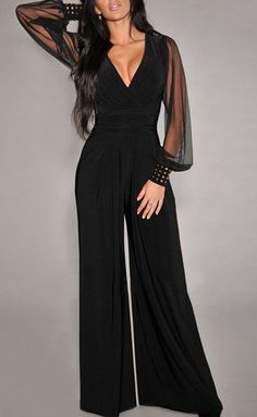 The V-Neck Long Sleeve Wide-Leg Jumpsuit,Like it?