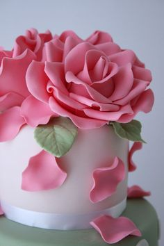 Pink gum paste roses