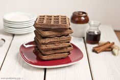 gingerbread waffles:     2 large plantains (green/yellow) about 14oz     4 eggs     1/2 teaspoon baking soda     3 tablespoons coconut oil, liquid     2 tablespoons molasses     1 teaspoon cinnamon     1 teaspoon ground ginger     1/2 teaspoon nutmeg