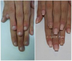 Before and after, nude gel nails with gold foil