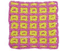 Cómo tejer el punto filet entretejido a crochet en 2 o más colores!