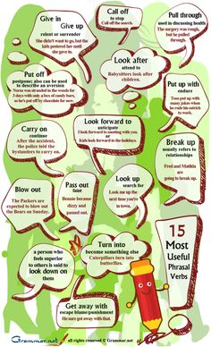 English Phrasal verbs: give in, give up, call off, look after, put off, break up, blow out and more...
