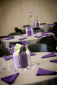 2019 brides favorite weeding color stylish shade of purple-wine bottle wedding centerpieces, wedding table settings, diy wedding decorations, purple and gray wedding color combos Purple Wedding Centerpieces, Wine Bottle Centerpieces, Wedding Colors, Wedding Flowers, Wedding Ideas Purple, Purple And Silver Wedding, Orange Wedding, Wedding Table Settings, Table Wedding