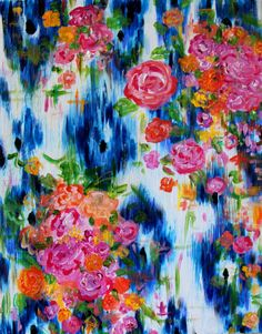 """BLUE IKAT Painting """"Southern Charm"""" by Carolyn Shultz/Blue Poppy Design 24"""" x 30""""SOLD"""