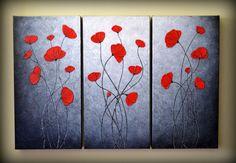 36x24 Original Modern Fine Art Abstract Red Poppies by ZarasShop