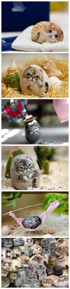 栩栩如生的石头猫,石头猫是台湾艺术家李鸿祥老师独创的石头彩绘艺术,将猫栩栩如生的姿态细细描绘于石头上。尤其是猫眼睛,以特別研制的顏料料制。每只动物各有不同的名字、品种、姿态,逗趣可爱。