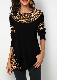 Button Detail Long Sleeve Leopard Print T Shirt Casual Outfits, Fashion Outfits, Winter Outfits, Women's Fashion, Trendy Fashion, Latex Fashion, Fashion Women, Fashion Trends, Trendy Tops For Women