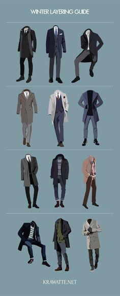 Mens winter fashion - das richtige Layering im Winter Mens Fashion Suits, Mens Suits, Fashion Infographic, Mode Man, Mode Costume, Mode Masculine, Fashion Mode, Fashion Blogs, Fashion Photo