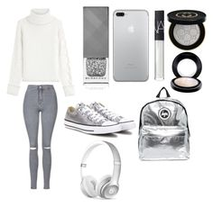 """GREY SILVER GREY SILVER X💍"" by macie-miller-1 on Polyvore featuring Burberry, NARS Cosmetics, Karl Lagerfeld, Topshop, Hype, Gucci, Converse, MAC Cosmetics and Beats by Dr. Dre"