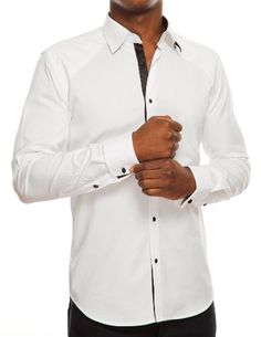 Stone Rose French Cuff Shirt with Sphere Butons & Knot Cufflinks (Included)