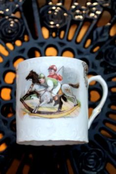 c1890-1904 - Antique - Signed  | BAVARIA LEHMANN | Moustache Cup | Red Lion Stamp | Rare Collectible Victorian Era | Rocking Horse Racing by periodpiecesantiques on Etsy