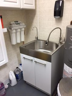 Presenza All In One 24.2 In. X 21.3 In. X 33.8 In. Stainless Steel Laundry  Sink And 2 Door Cabinet QL037 At The Home Depot   Mobile