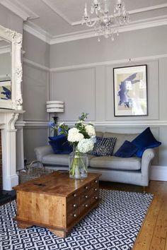Renovation of the Year 2016 winner: Victorian house is former home of Titanic chief engineer Joseph Bell Living Room Decor Living Room Grey, Living Room Interior, Home Living Room, Living Room Designs, Navy Blue And Grey Living Room, Living Room Ideas Terraced House, Blue Living Room Furniture, Living Room Decor Colors Grey, Dining Living Room Combo