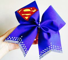 Deluxe Rhinestone Bling Superman Blue Spandex Cheer Bow glitter details super girl