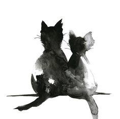 Direct from the Artist! Fine Art Print from Original Painting by CanotStop Cat Love Couple Fine Art Print, Minimalist Watercolor Painting print, Cat Art, Two Cats, Cat Pair Modern Wall Art Print PRINT DETAILS: printed on Epson art printer specialised in museum quality printing, on