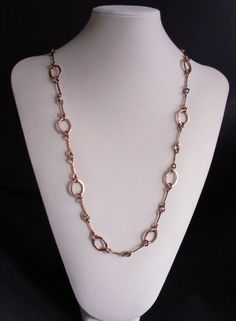 Handmade copper chain necklace copper jewelry by copperryfields, $55.00