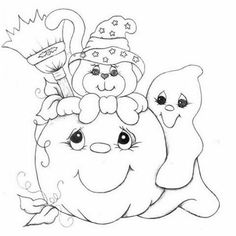 dia das bruxas Fall Coloring Pages, Coloring For Kids, Free Coloring, Adult Coloring Pages, Coloring Books, Moldes Halloween, Adornos Halloween, Manualidades Halloween, Painting Templates