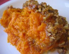Thanksgiving Sweet Potato Casserole with Pecan Brown sugar topping.