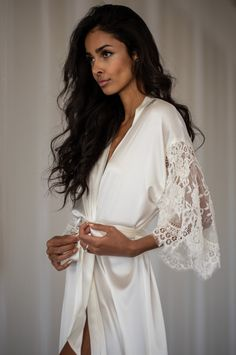 The Grace Bridal Robe by Daphne Newman featured on LOVE FIND CO You can find different rumors about the real … Wedding Attire, Wedding Gowns, Bridal Robes Getting Ready, Bridal Nightwear, Lace Bridal Robe, Bridal Veils, Silk Charmeuse, Chantilly Lace, Lace Sleeves