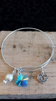 Adjustable Bangle Bracelet Sterling Silver Mom Charm Blue Cross Beads Mom Mothers Day Gift lgbstyles Womens Jewelry by LGBStyles on Etsy