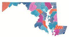 Maryland Map Illustration www.etsy.com/...