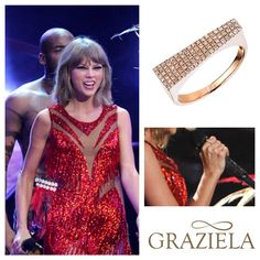 How Fabulous! Last night the talented  #TaylorSwift performed at the #MTVVMAs in our Rose Hot Shot Band. #diamondpave #diamondring #stackablering #diamond #rosegold #designerjewelry #designerjewelry #celebrityfashion #celebrity #celebrityjewelry