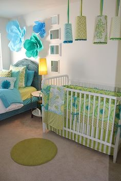 Loving this blue and green color combo for a baby nursery