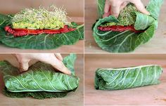 Eating Healthy for the New Year?  Healthy Wrap: 2 large collard leafs (cut off the vain so it will roll) spread of choice (hummus, beans, fruit, nut spread), top with veggies of choice (tomatoes, cucumebers, carrots,sprouts) and roll 'em up!
