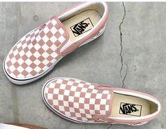 Blush Pink Slip On Vans Pink Slip On Vans, Pink Vans, Blush Shoes, Blush Pink Outfit, Cute Vans, Vans Checkerboard, Vans Shoes, Sock Shoes, Shoes Sandals