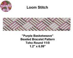 Purple Basketweave Loom Beaded Bracelet Pattern by TinkersDrift